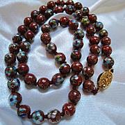 Fabulous Chinese Export Cloisonne Deep Red Vermeil Clasp Vintage Necklace