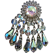 Vendome signed Fabulous Swarovski Prism Crystal Dangle Statement Brooch Pin