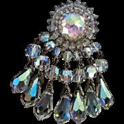 Vendome signed Fabulous Swarovski Prism Crystal Dangle Statement Brooch Pin