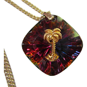 Amazing Swarovski Crystal Brilliant Colors Palm Tree Chain Marked Germany
