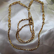 "Christian Dior Classic Vintage 36"" Gold Plated Vintage Chain Signed Mint Condition"