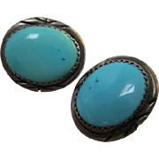 Sleeping Beauty Turquoise Sterling Silver Native American Southwestern Clip Earrings