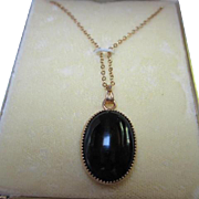 Classic Onyx Oval Pendant Gold filled frame and chain in Original Vintage Box