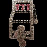 Lucky Slots 777 Rhinestone Vintage Vegas Brooch Pin