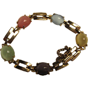 Wonderful Pastel Moonstone Art Deco Vermeil Vintage Bracelet