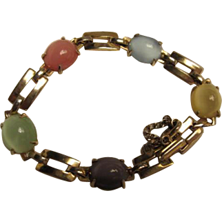Wonderful Pastel Moonstone Art Deco Vermeil Vintage Bracelet