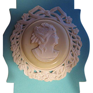 Incredible Huge Celluloid Cameo Vintage Statement Brooch Pin