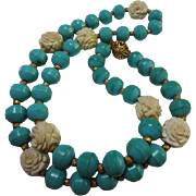 Gorgeous Chinese Turquoise Carved Bone Rosettes 26 inch Vintage Necklace