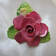 Staffordshire Beautiful Cara Pink Rose Vintage Bone China Brooch Pin Made in England