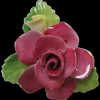 Staffordshire Beautiful Cara Pink Rose Vintage Bone China Brooch Pin Made in England