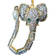 Unique Rhinestone Elephant Vintage Bracelet Emerald Green Crystal Eyes Moving Ears