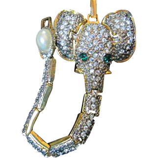 Unique Rhinestone Elephant Vintage Bracelet Emerald Green Crystal Eyes Moving Ears
