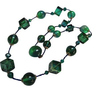 Fabulous Greenish Blue Cubist and Round Lucite Modernist Vintage Necklace