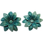 Wonderful Blue Enamel Flower Enamel Clip Earrings
