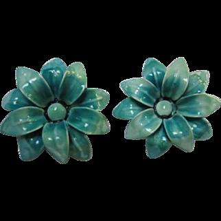 Wonderful Blue Enamel Flower Enamel Clip Earrings