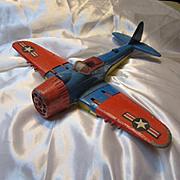 Vintage Hubley WW11 Toy Airplane Die Cast 495 Fold Up Wings