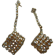 Cool Cubist Rhinestone Vintage Dangle Statement Pierced Earrings