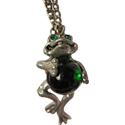 "Pewter Frog Green Glass Jelly Belly Pendant Signed CCI 8129 on 24"" Chain"