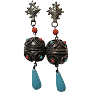 Fabulous Boho fx Coral and Turquoise Antiqued Gold Tone with Blue Glass Dangle Clip Earrings Pat 156452