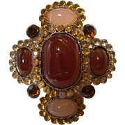 Attractive Amber Glass and AB Aurora Borealis Crystal Rhinestone Brooch Pin Pendant