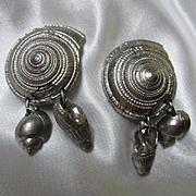 Kenzo Paris Signed Fabulous Sea Shell  Dangle Vintage Clip Earrings