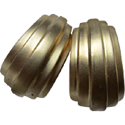 Ciner Huge Deco style Gold matte tone Runway Statement Couture Vintage Clip Hoop Earrings Signed Three Places
