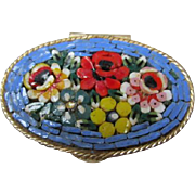 Beautiful Mosaic Flowers Oval Vintage Pill Box Italy