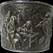 Large Silver Repousse Story Vintage Cuff Bracelet Tavern Scene Denmark Signed