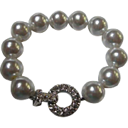 Elegant fx Huge Pearls and Pave Set Rhinestone Sparkling Clasp