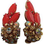 D & E Juliana Coral Marquise and AB Sparkling Clip Earrings