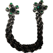Incredible Edwardian Chatelaine Sweater Cloak Clips Emerald Glass Bullet Cabs Double Rolo Chain