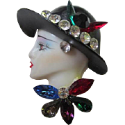 Vintage Fashion Lady Jeweled Rhinestone Pin