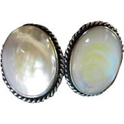 Large Oval Mother of Pearl MOP Sterling Silver Vintage Clip Earrings 925