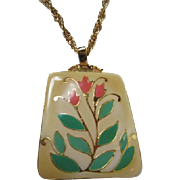 Bold Vintage Enamel Flower Pendant on Gold tone Chain