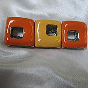 Fabulous Enameled Mod Orange and Yellow Modernist Vintage Stretch Bracelet