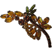 D&E Juliana Citrine Topaz Olivine Rhinestones Gorgeous Vintage Delizza and Elster Brooch Pin