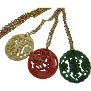 Fabulous Vintage Set Asian Inspired Celluloid Pendants Dragon Chinese Symbols Jade Green, Ivory Color, Orange Coral