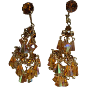Fabulous Hattie Carnegie AB coated Golden Stones Chandelier Earrings Book Piece