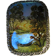 Vintage Fedoskino Miniature Work of Art Hand Painted Signed Brooch Pin