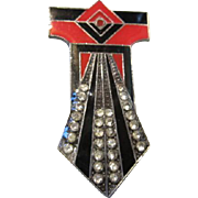 Fabulous Art Deco Geometric Red Black Enamel Rhinestone Brooch Pin