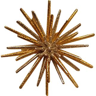 Rare Castlecliff Modernist Articulated Atomic Starburst Silver and Gold tone Fabulous Vintage Brooch Pin