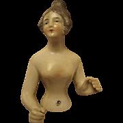 Elegant German Boudoir Half Doll with Arms Away Incised Number 57  Bonus Half Doll