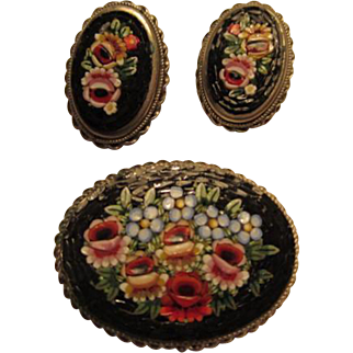 Gorgeous Vintage Floral Mosaic Pin & Earrings Set Italy Tesserae Pin Earrings