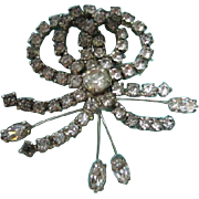 Kramer of New York signed 1950's Great Clear Rhinestone Brooch Pin