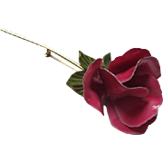 Beautiful Enamel Deep Pink Long Stem Rose Vintage Brooch Pin