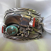 Amazing Native American Navajo Bear Sterling Signed Turquoise Coral Claw Vintage Bracelet Weighs Four Ounces