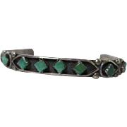 Signed Native American Sterling Silver Green and Blue Turquoise Vintage Bracelet