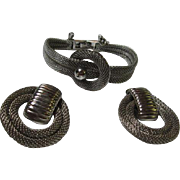 Fabulous Vintage Silver Steel Mesh Bracelet and Door Knocker Clip Earrings Set