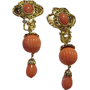 Gorgeous Jose Barrera Coral Lucite Dramatic Vintage Signed Clip Earrings