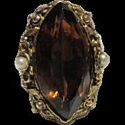 Stunning Smokey Topaz Vintage Glass Ring Gold tone Adjustable